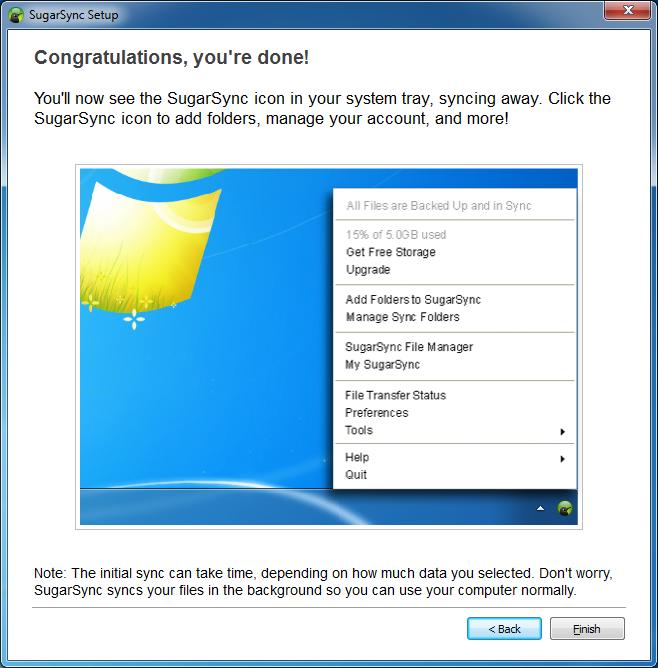 Kreator konfiguracji klienta usługi SugarSync - krok 4