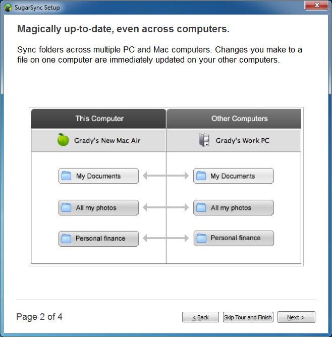 Samouczek w kreatorze konfiguracji klienta usługi SugarSync - krok 2