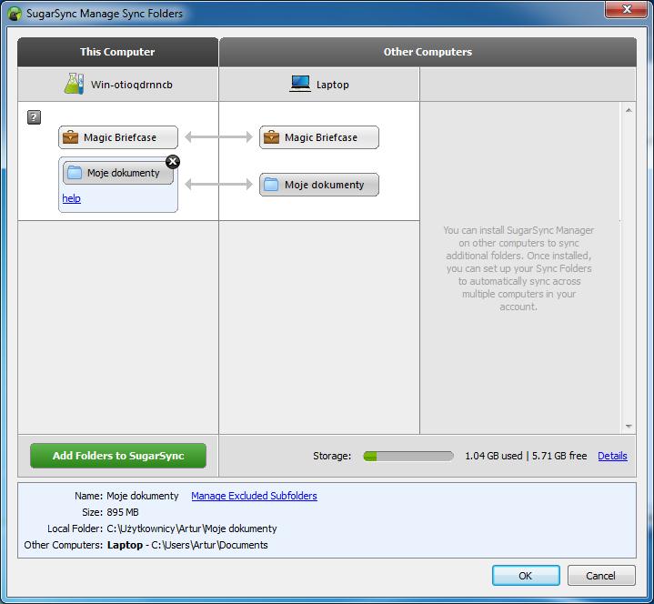 Synchronizowanie folderów pomiędzy komputerami w usłudze SugarSync