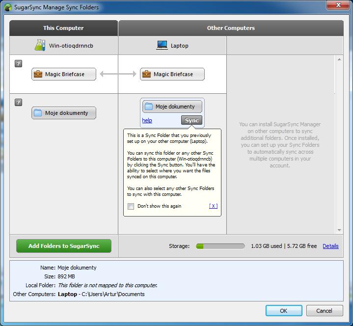 Zarządzanie folderami w usłudze SugarSync
