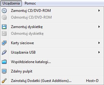 Instalowanie dodatku Guest Additions w programie VirtualBox