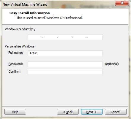 Wprowadzanie danych o użytkowniku w VMware Player
