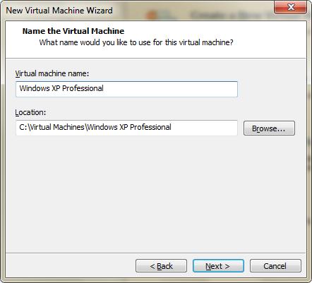 Wprowadzanie nazwy i lokalizacji maszyny wirtualnej