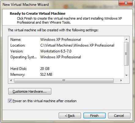 Podsumowanie informacji o maszynie wirtualnej w VMware Player
