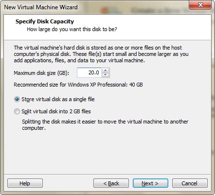 Tworzenie dysku dla maszyny wirtualnej w VMware Player