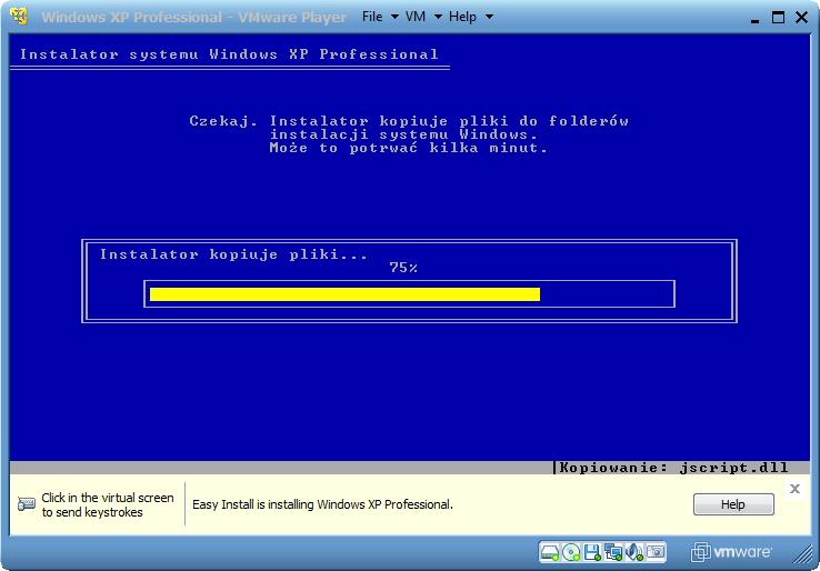 Automatyczna instalacja systemu Windows XP w VMware Player