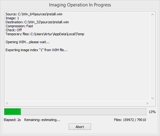 Postęp operacji eksportowania w programie GImageX