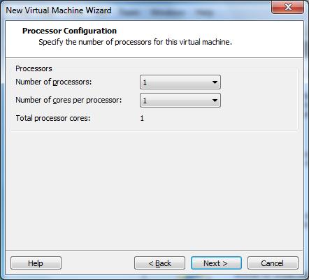 Wybór liczby rdzeni i liczby procesorów przydzielonych do maszyny wirtualnej w VMware Workstation 7