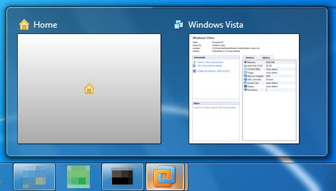 Miniatury na pasku zadań w VMware Workstation 7 zainstalowanym w Windows 7