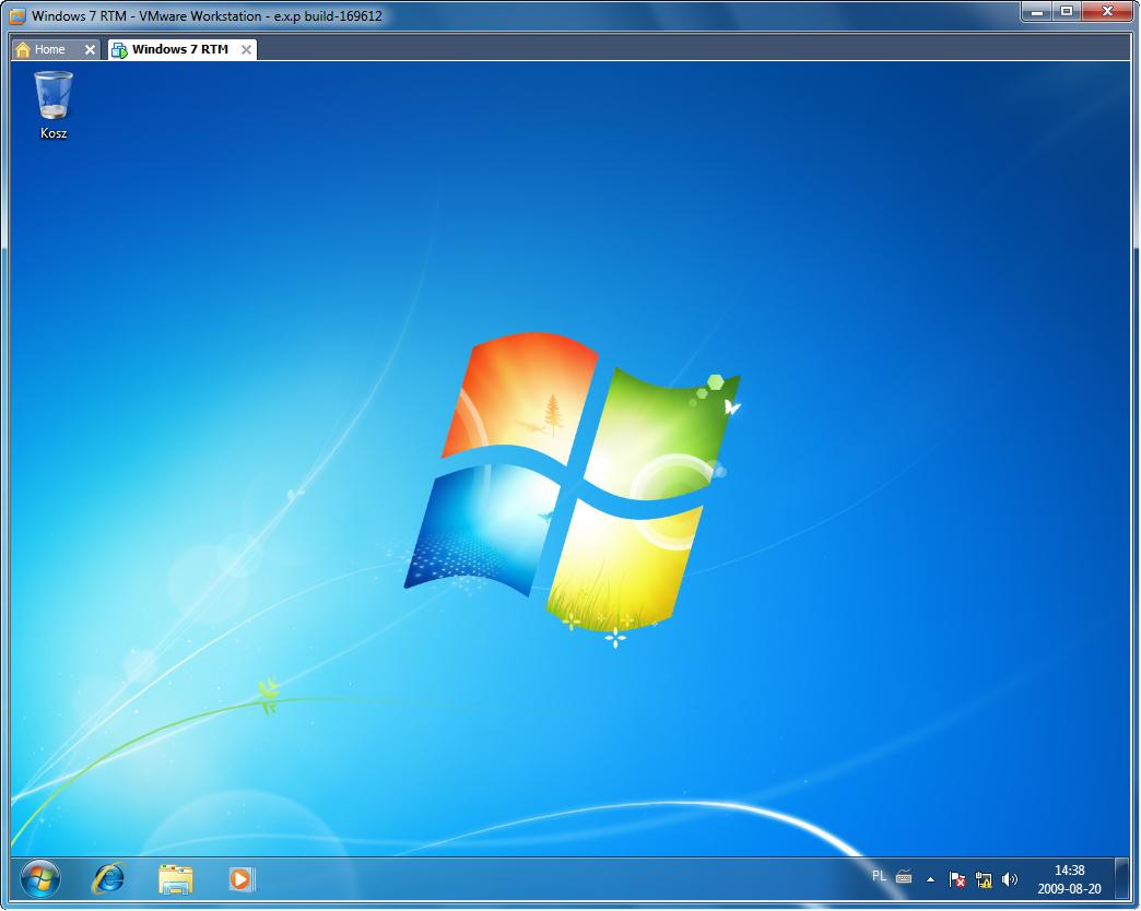 Interfejs Aero w maszynie wirtualnej Windows 7 zainstalowanej w VMware Workstation 7