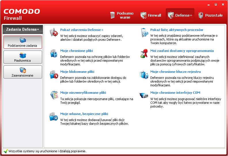 Ustawienia Defense+ w programie Comodo Firewall