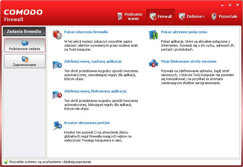 Ustawienia zapory w programie Comodo Firewall