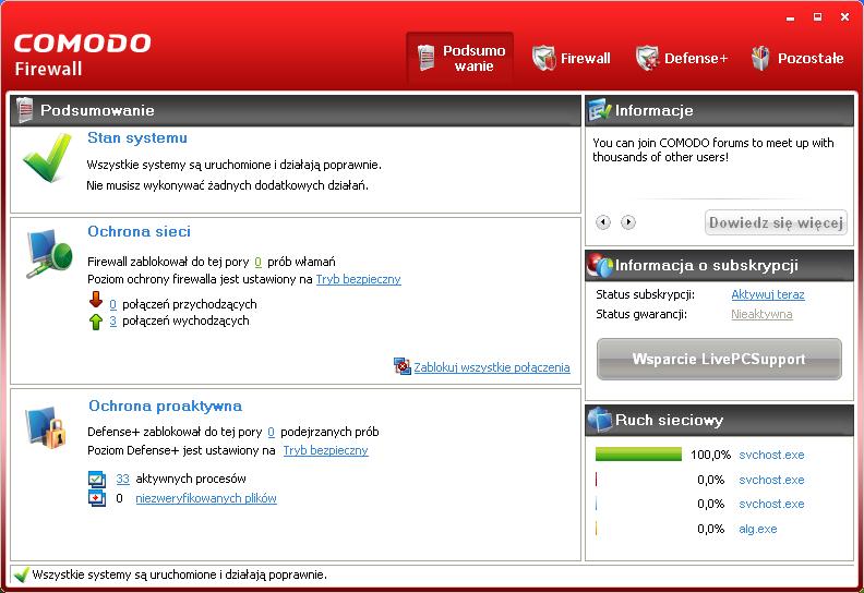 Podsumowanie stanu systemu w programie Comodo Firewall