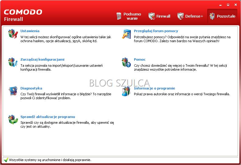 Inne ustawienia w programie Comodo Firewall