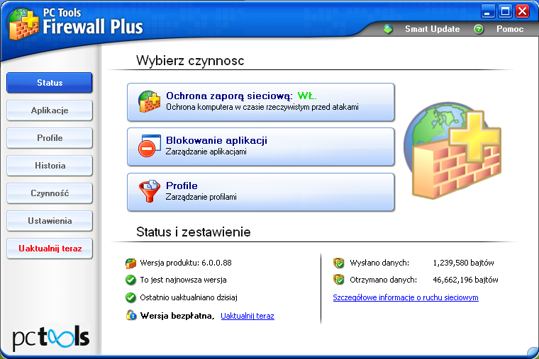 Interfejs programu PC Tools Firewall Plus