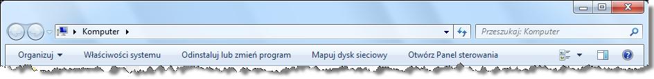 Opcja mapowania dysku sieciowego w oknie Komputer