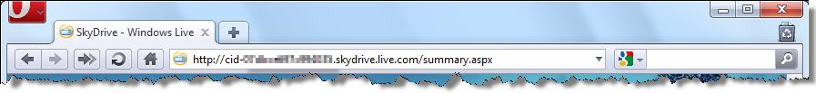 Pasek adresu z identyfikatorem CID usługi SkyDrive