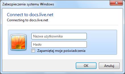 Wpisywanie danych logowania do usługi SkyDrive