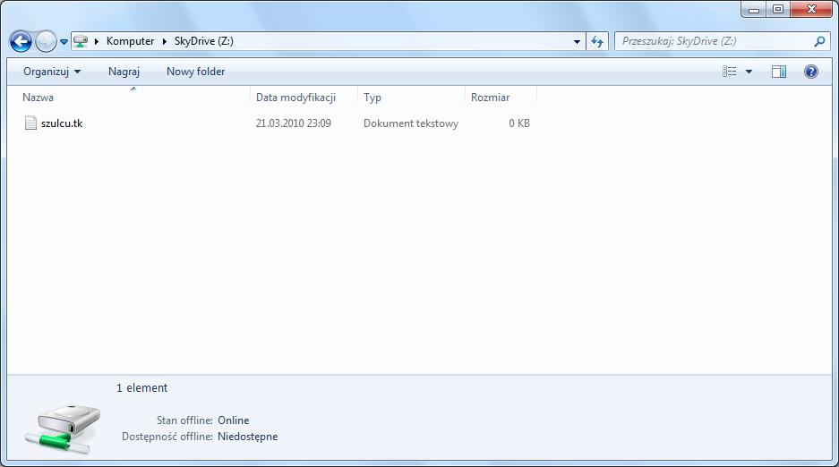 Zawartość folderu usługi SkyDrive jako dysku sieciowego