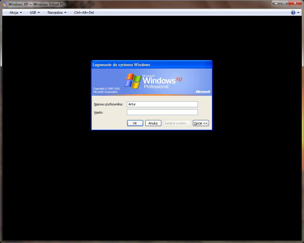 Funkcje integracji maszyny wirtualnej programu Windows Virtual PC