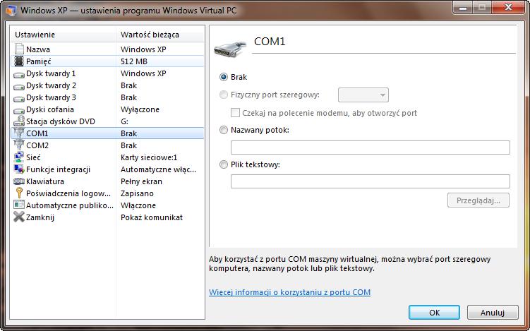 Ustawienia portu COM1 maszyny wirtualnej w programie Windows Virtual PC