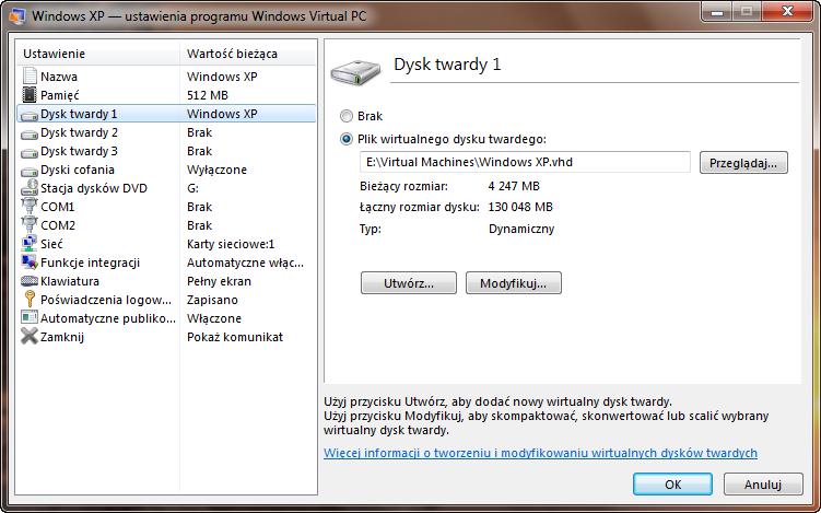Ustawienia pierwszego dysku maszyny wirtualnej w programie Windows Virtual PC