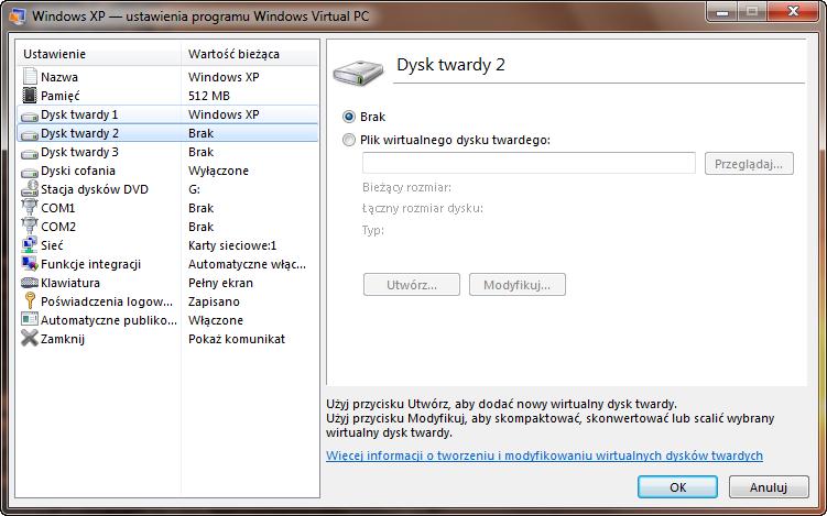 Ustawienia drugiego dysku maszyny wirtualnej w programie Windows Virtual PC