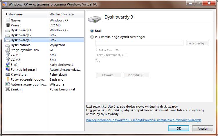 Ustawienia trzeciego dysku maszyny wirtualnej w programie Windows Virtual PC