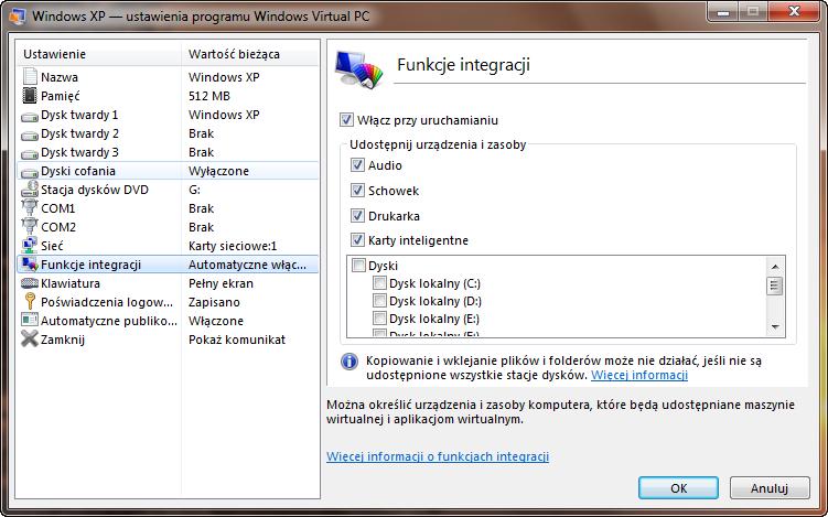 Ustawienia funkcji integracji maszyny wirtualnej w programie Windows Virtual PC