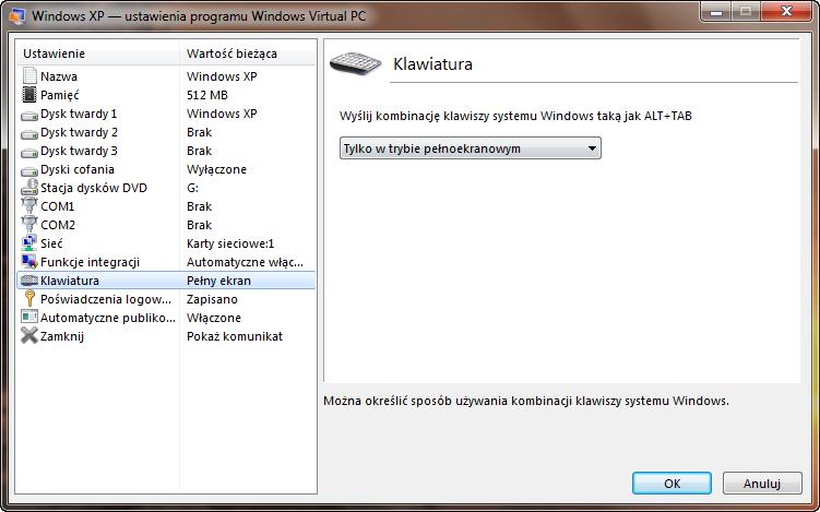Ustawienia klawiatury maszyny wirtualnej w programie Windows Virtual PC