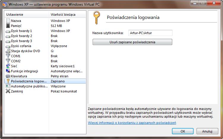 Ustawienia automatycznego logowania do maszyny wirtualnej w programie Windows Virtual PC