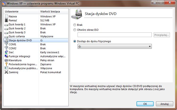 Ustawienia napędu optycznego maszyny wirtualnej w programie Windows Virtual PC
