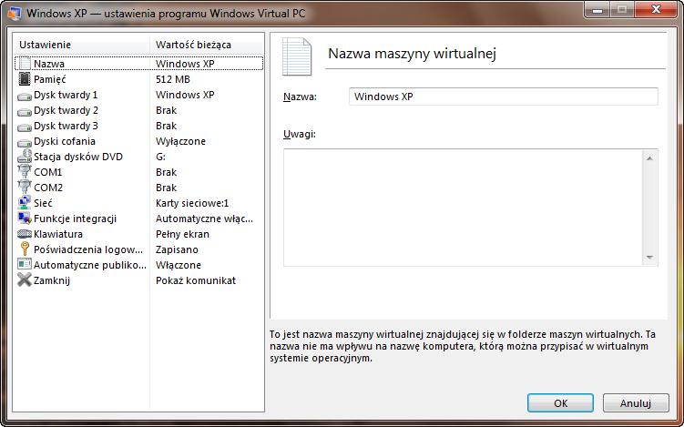 Ustawienia nazwy maszyny wirtualnej w programie Windows Virtual PC