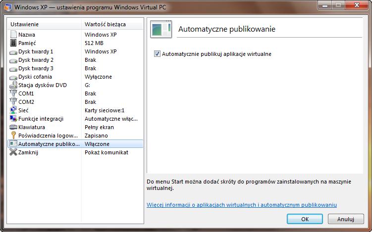 Ustawienia automatycznego tworzenia skrótów z aplikacji maszyny wirtualnej w programie Windows Virtual PC