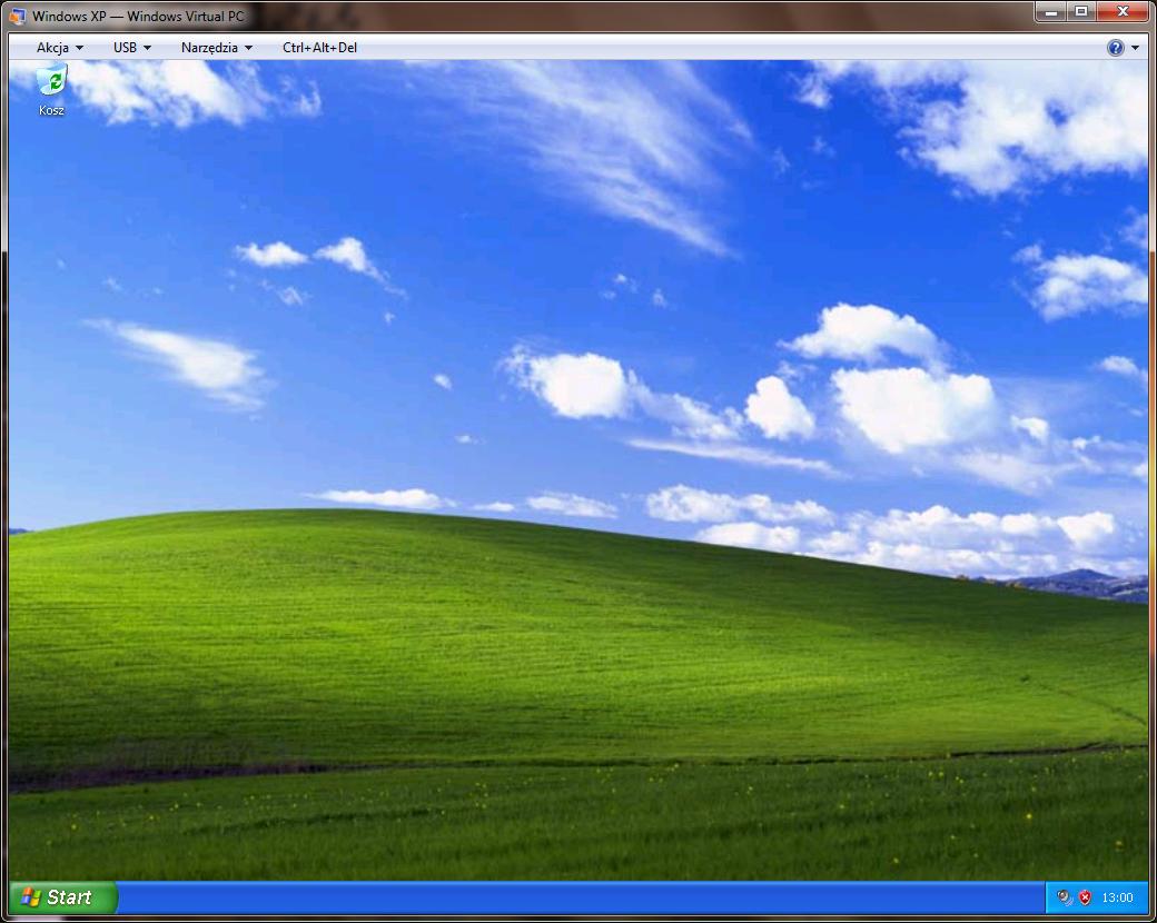 Windows XP uruchomiony jako maszyna wirtualna programu Windows Virtual PC