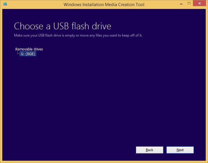 Tworzenie nośnika instalacyjnego Windows 8.1 - wybór pamięci USB