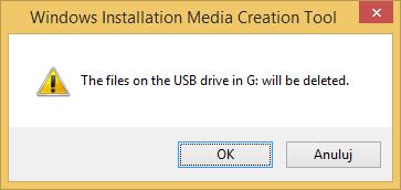 Tworzenie nośnika instalacyjnego Windows 8.1 - potwierdzenie usunięcia danych z pamięci USB