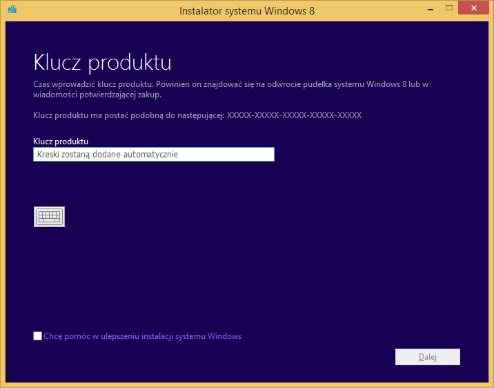 Tworzenie nośnika instalacyjnego Windows 8 - podawanie klucza produktu