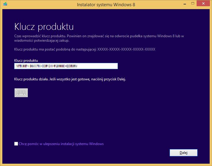 Tworzenie nośnika instalacyjnego Windows 8 - weryfikacja klucza produktu