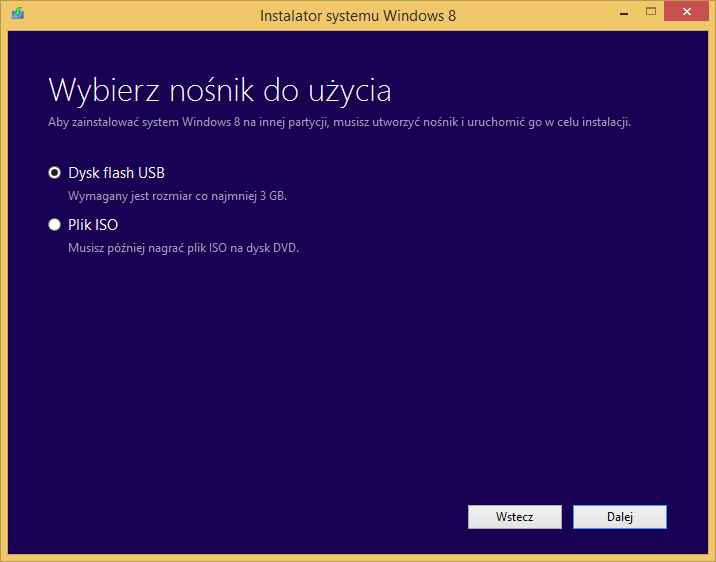 Tworzenie nośnika instalacyjnego Windows 8 - wybór nośnika docelowego