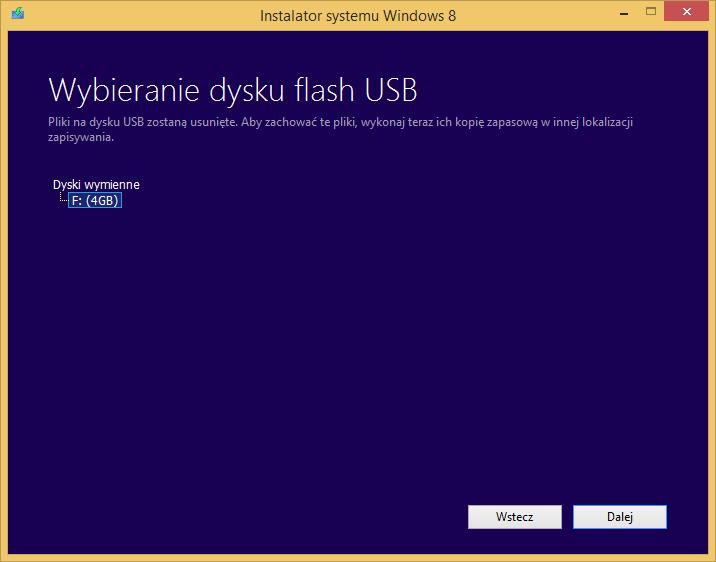 Tworzenie nośnika instalacyjnego Windows 8 - wybór pamięci USB