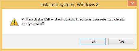 Tworzenie nośnika instalacyjnego Windows 8 - potwierdzenie usunięcia danych