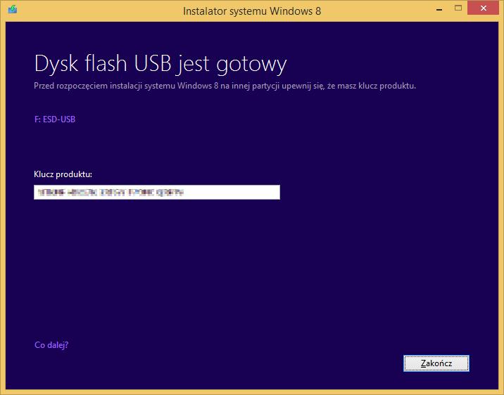 Tworzenie nośnika instalacyjnego Windows 8 - tworzenie nośnika USB z instalatorem zakończone