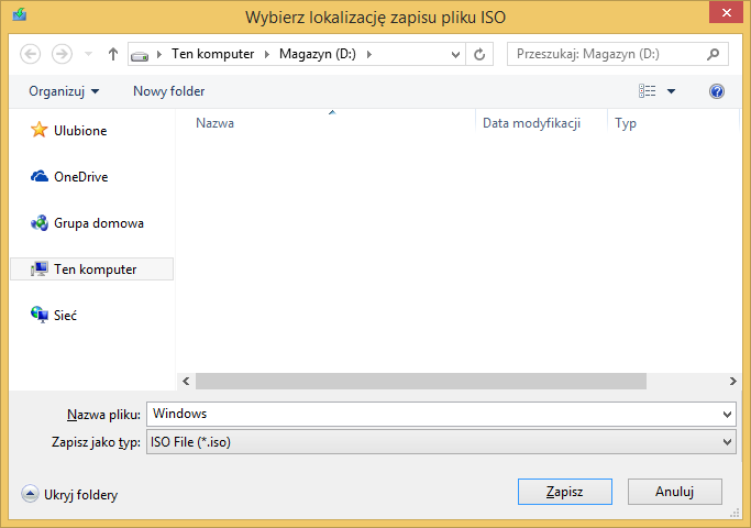 Tworzenie nośnika instalacyjnego Windows 8 - wybór lokalizacji zapisu pliku ISO