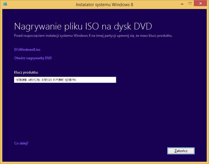 Tworzenie nośnika instalacyjnego Windows 8 - tworzenie pliku ISO z instalatorem zakończone